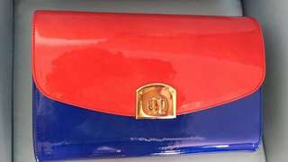 Sergio Rossi tri color patent Clutch