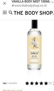 Bodyshop Body mist vanilla