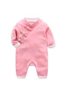 Cotton Chinese cheongsam onesie jumpsuit pink 66cm