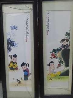 「童戲」瓷板畫四屏