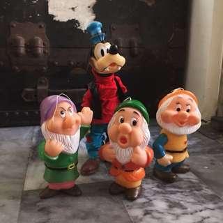 早期迪士尼老膠公仔 小矮人 高飛狗 懷舊童玩 老件收藏