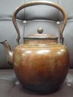 日本手製老紅銅壺