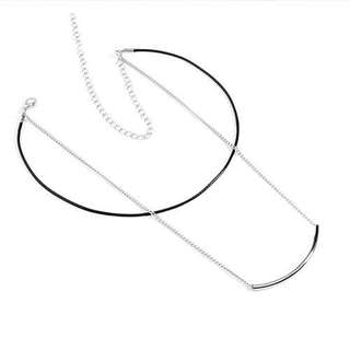 Curved bar double layer necklace