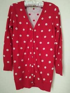 🚚 紅底白點針織外套