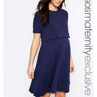ASOS Maternity NURSING Scallop Dress with Short Sleeve