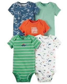 Brand New Instock Carter's 5 Pc Short Sleeve Bodysuits Onesies Rompers Set Boys