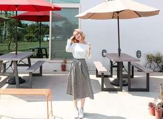 野餐格紋裙
