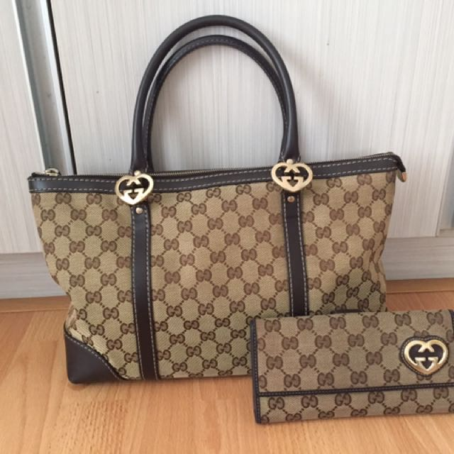 99c8f11d48d 100% Authentic Gucci lovely heart-shaped interlocking G tote + ...