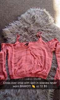 Crop with slit in sleeves BRAND NEW