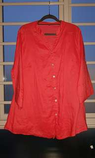 Linen red blouse