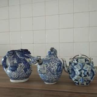 3Teapots;2 big bowls;11vintage bowls