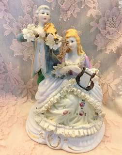 Vintage Dresden lace style figurines with violin & harp