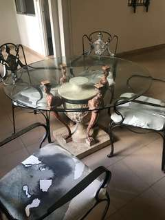 Wrought iron dining table and 4 chair