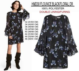 Branded HMD30 FLOUNCE BLACKFLORAL DRESS