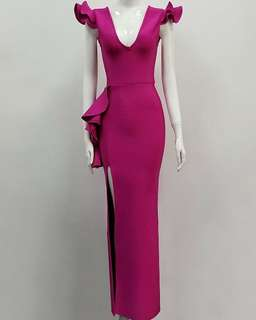 Euro Sexy Plunging Neckline Layered Ruffled Dress