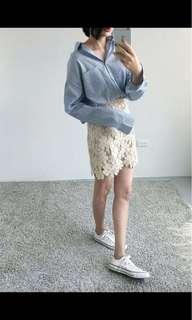 🚚 藍色細直條紋襯衫