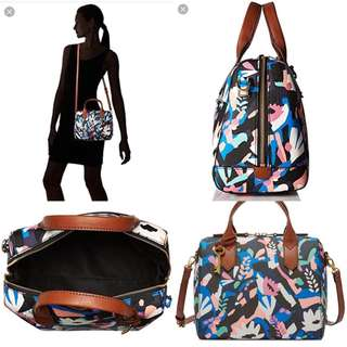 Fossil Fiona Satchel Black Floral