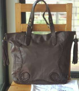 Authentic Mulberry Dark Rich Brown Tasseled Tote with braided details