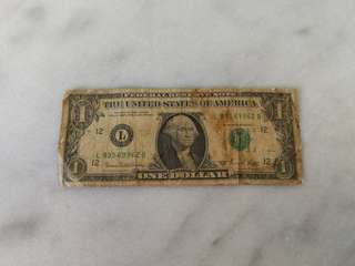 1969 American dollar  $1 USD currency note美钞币