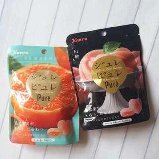 🚚 日本 KANRO 甘樂 PURE 鮮果實夾餡軟糖 心型水果軟糖 63g