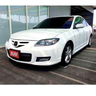 2008年 馬自達 Mazda3 2.0S 白 4D  頂級天窗 !最熱銷的帥氣白馬 ~~