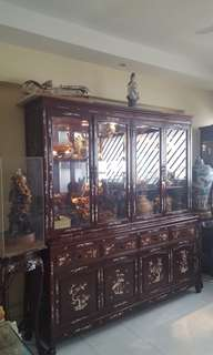 Old Chinese rosewood (MOP) display cabinet