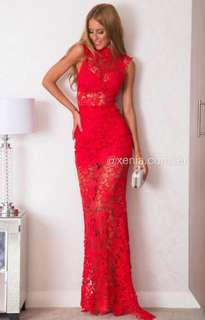 Red Lace Maxi Formal Prom Dress