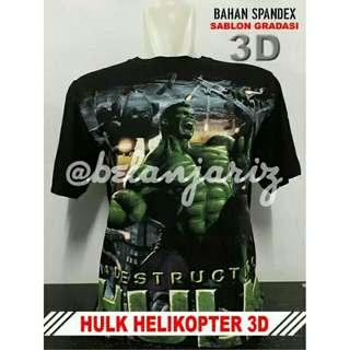 ... Motif Gitar Semi Cotton Spandek Sgl. Kaos Distro 3D Hulk Helicopter