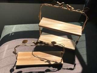 Dessert Table Props Rental - Rustic Garden Wooden Slab Tray Set