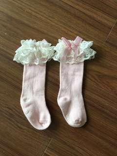Korea made socks with lace 12-24 months