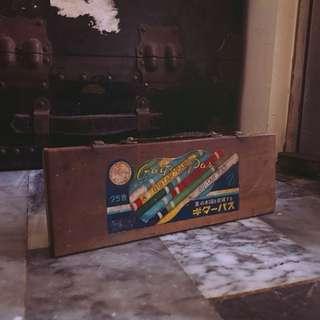 早期日本製木盒裝蠟筆 老繪圖用品 昭和文具 老件收藏擺飾