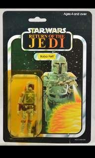 Vintage Star Wars ROTJ Palitoy Boba Fett Light Blue/Unpainted Knee MOC