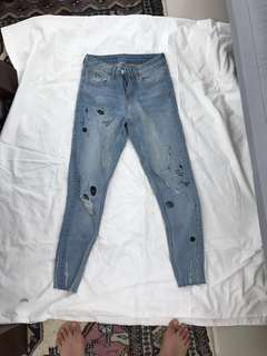 Zara comic ripped denim