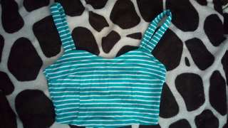 F21 blue stripes crop top