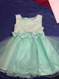 Girl Party Dress Baby Green Size 2yr