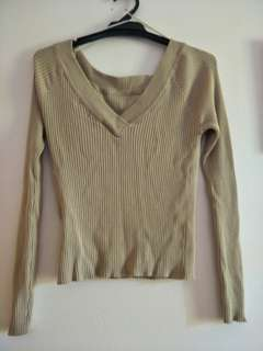 Ribbed Beige V-Neck Thin Sweater