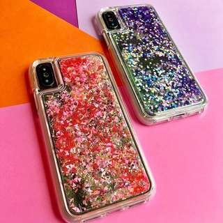 iPhone X Case-GLOW WATERFALL-Glow in The Dark Liquid Glitter