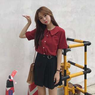 [B/N] Red Cropped Blouse
