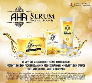 AHA by ayesha beauty products serum and set