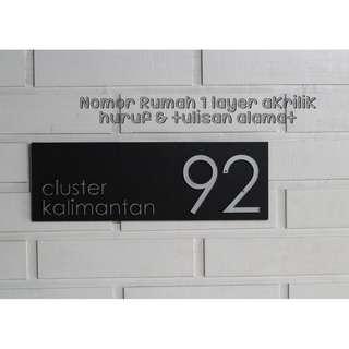 Nomor rumah akrilik 2 LAYER