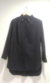 黑色長袖襯衫