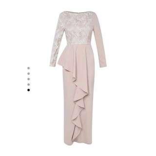 Zalia Gold Lace Peplum Dress