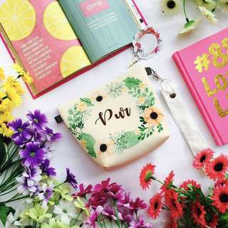 🚚 CUSTOM MAKEUP BAG COSMETIC BAG floral