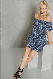 BNWT MANGO OFF-SHOULDER/BARDOT BLUE FLORAL DRESS