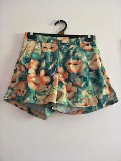 Colourful Floral Green Flowy Shorts