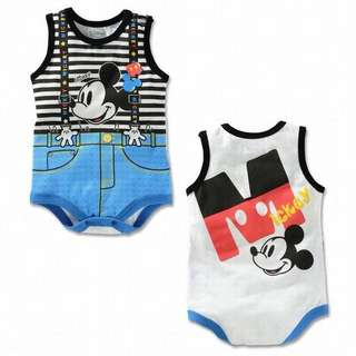 100% Cotton Mickey Mouse Sleeveless Baby Romper