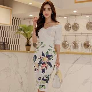🚚 BACKORDER - Ellesha Off Shoulder With Floral Print Skirt Set
