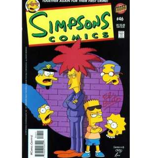 Simpsons Comics #46 (December 1999) - Together Again For Their First Crime! Angels With Yellow Faces: Released from jail, Sideshow Bob is determined to go straight, plying his new trade as a dog groomer/VCR repairman