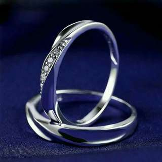 Adjustable 925 italy silver couple ring