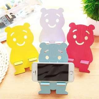 可愛小熊木質手機架